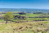 View from Black Down the highest hill in the Mendip Hills Somerset in south-west  England towards Blagdon Lake and Chew Valley — Stock Photo