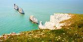 The Needles Isle of Wight landmark by Alum Bay — Stock Photo