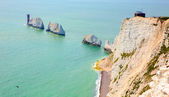 The Needles Isle of Wight landmark by Alum Bay — Stock Photo