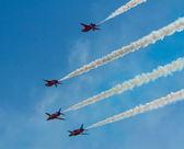 The Red Arrows jet planes British RAF aerobatic display team — Stock Photo