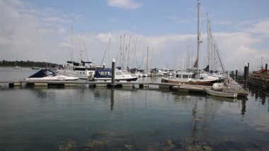 Lymington marina Hampshire England uk on the Solent near the New Forest — Stock Video
