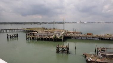 View of Southampton Docks from the isle of Wight ferry — Stock Video