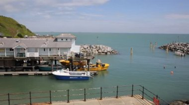 Ventnor harbour Isle of Wight England UK on a beautiful summer day — Stock Video