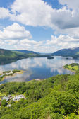 Derwent Water Lake District National Park Cumbria near Keswick surrounded by mountains elevated view — Stock Photo