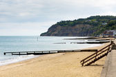 Shanklin beach Isle of Wight England UK, popular tourist and holiday location east coast of the island on Sandown Bay with sandy beach — Stock Photo
