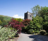 Grasmere village church Cumbria popular tourist destination English Lake District National Park — Photo