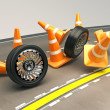 Tire with Under Construction COne — Stock Photo #12456188