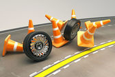 Tire with Under Construction COne — Stock Photo