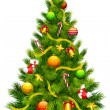 Decorated Christmas Tree - Stock Vector