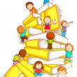 Stock Vector: Kids Climbing in Stack of Book