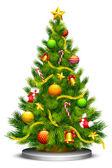 Gedecoreerde kerstboom — Stockvector