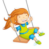 Baby Girl Swinging — Stock Vector