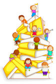 Kids Climbing in Stack of Book — Stock Vector