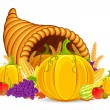 Stock Vector: Thanksgiving Cornucopia