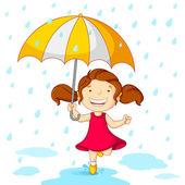 Ragazza giocando nella pioggia — Vettoriale Stock