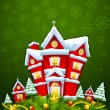 Stock Vector: Decorated House for Merry Christmas
