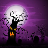 Scary Halloween Tree — Stock Vector