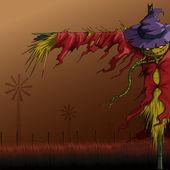 Halloween fågelskrämman — Stockvektor