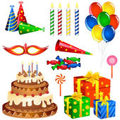 Birthday Items — Stock Vector