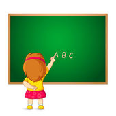 Kid writing on Blackboard — Stock Vector