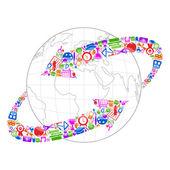 地球周围技术箭头 — 图库矢量图片