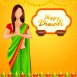 Indian lady wishing Happy Diwali - Stock Vector