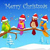 Birds singing Christmas Carol — Stock Vector
