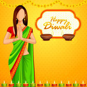 Indyjski pani chcą happy diwali — Wektor stockowy