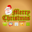 Merry Christmas with funny Character - Stock Vector