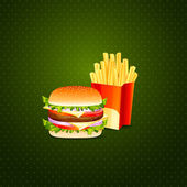 Burger and French Fries — Stock Vector