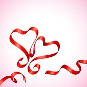 Pair of Ribbon Heart — Stock Vector