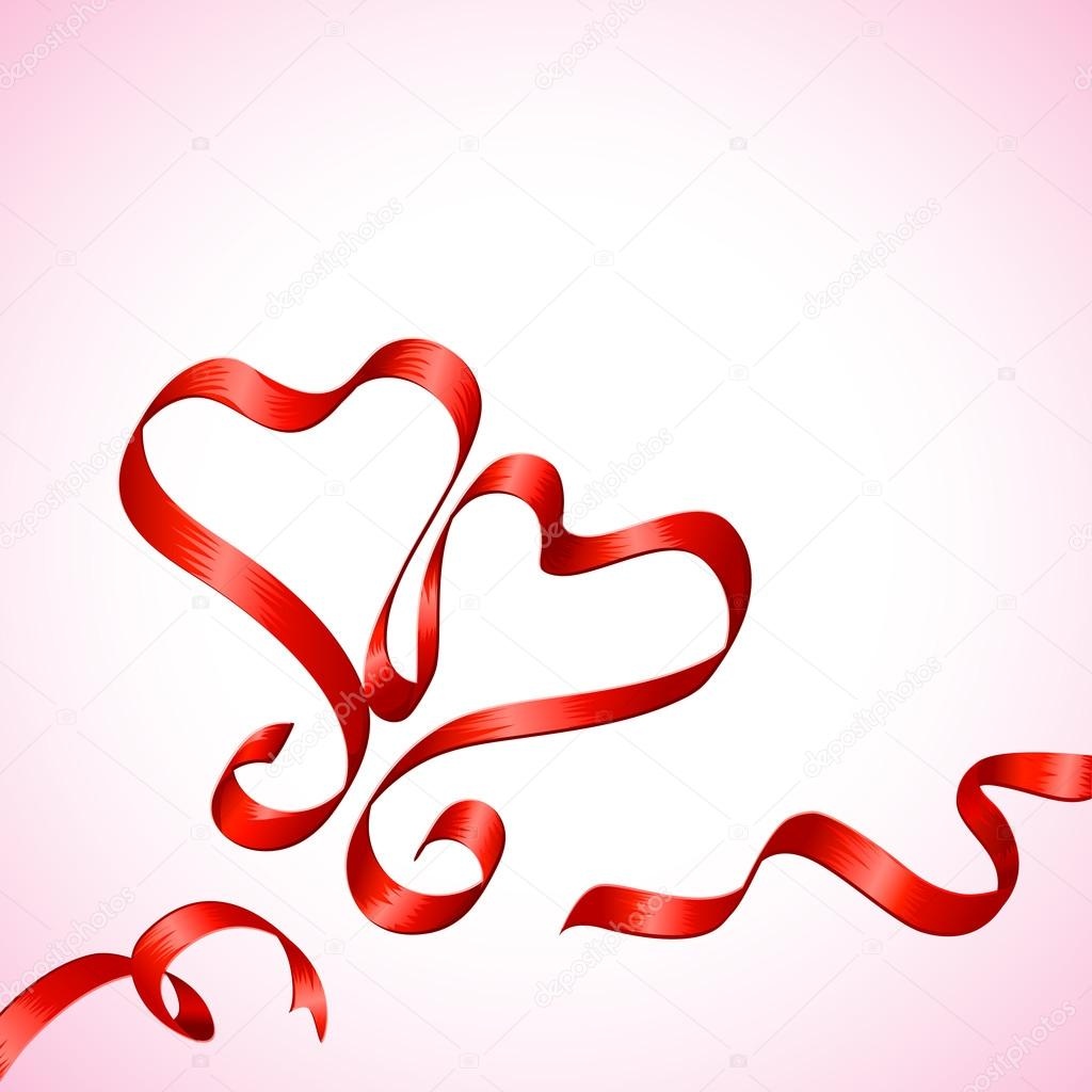 Vector illustration of pair of heart made of ribbon — Stock Vector #19378203