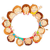 Crianças ao redor do círculo — Vetor de Stock