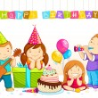 Stock Vector: Kids Celebrating Birthday