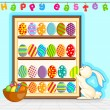 Easter Bunny decorating painted egg — Stock Vector