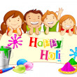 Kids wishing Holi Festival - Stock Vector
