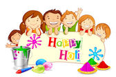 Kids wishing Holi Festival — Stock Vector