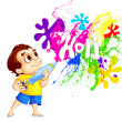 Kids playing Holi Festival - Stock Vector