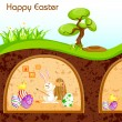 Bunny painting Happy Easter in Burrow — Stock Vector