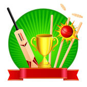 Cricket Kit with Trophy — Stock Vector