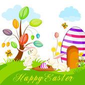 Bunny hidding Easter Egg — Stock Vector