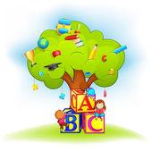 Kids climbing Wisdom Tree — Stock Vector