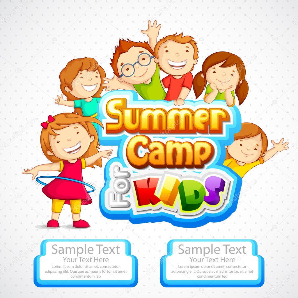 of kids summer camp poster Summer Camp Vector