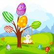 Easter Bunny swinging on Egg Tree — Stock Vector