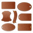 Vector de stock : Blank Leather Textured Label