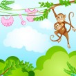 Monkey Swinging with Kid — Stock Vector