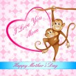 Monkey Swinging with Kid - Stock Vector