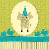 Elephant in Birthday Card — Stock Vector