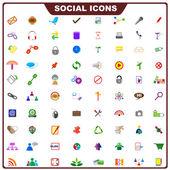 Färgglada sociala ikon — Stockvektor