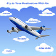 Airplane travelling to your Destination — Stock Vector